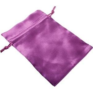 Satin Jewellery Pouch, Medium Purple Gift Bag with Matching Drawstring 110 x 155