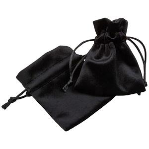Luksus smykkepose i velour, lille Sort velour med sort satinsnor 75 x 90