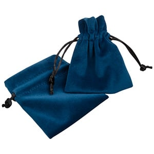 Pochette de luxe en velours, petite Velours bleu pétrole avec cordon en satin noir 75 x 90