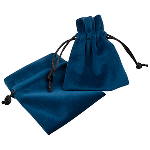 Luksus smykkepose i velour, lille Petroleumsblå velour med sort satinsnor 75 x 90