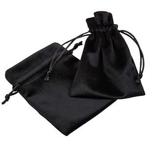 Pochette de luxe en velours, moyenne Velours noir avec cordon en satin noir 90 x 120
