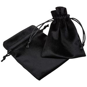 Luksus smykkepose i velour, mellem Sort velour med sort satinsnor 90 x 120