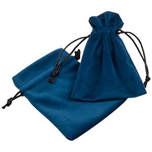 Luksus smykkepose i velour, mellem Petroleumsblå velour med sort satinsnor 90 x 120