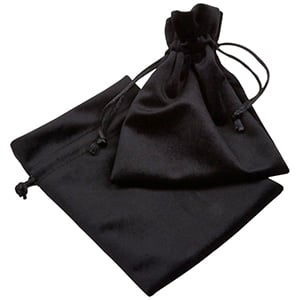 Luxury Velour Pouch, large Black velour with black satin drawstring 110 x 155