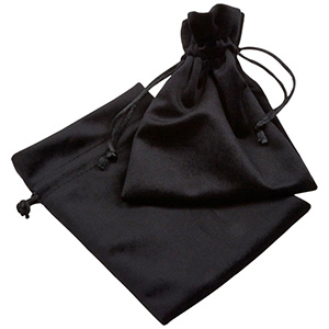 Luxury Velour Pouch, large Black velour with black satin drawstring 110 x 155