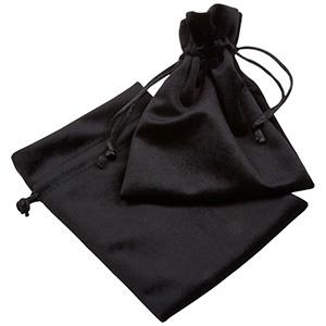 Luksus smykkepose i velour, stor Sort velour med sort satinsnor 110 x 155