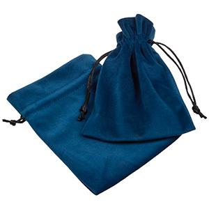 Luxury Velour Pouch, large Petrol blue velour with black satin drawstring 110 x 155