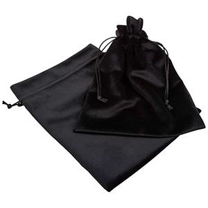 Luksus smykkepose i velour, XL Sort velour med sort satinsnor 180 x 240