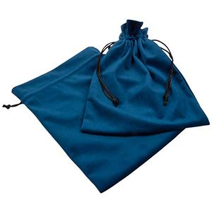 Luksus smykkepose i velour, XL Petroleumsblå velour med sort satinsnor 180 x 240