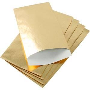 500 stk. Papirspose til smykker, lille Blank guld papir med struktur 90 x 150 76 gsm