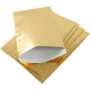 Sachet en papier métallique brillant, 500 pcs Papier en couleur or 120 x 180