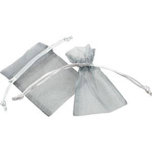 Pochette en organza, taille mini Voile en couleur argent 70 x 90