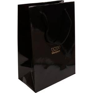 Glanzend gelakt papieren draagtasje, groot Zwart gelamineerd papier met gevlochten hengsel 180 x 250 x 100 150 gsm