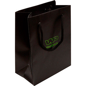Matt Paper Carrier Bag with Rope Handle, Small Matt Laminated Black Paper with Braided Handle 114 x 146 x 63 150 gsm