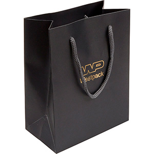 Matt Paper Carrier Bag with Rope Handle, Small Matt Laminated Dark Grey Paper with Braided Handle 114 x 146 x 63 150 gsm