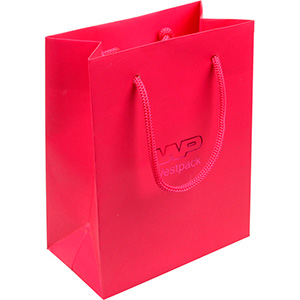 Matt carrier bag with handle, small Magenta Paper with cord 146 x 114 x 63 150 gsm