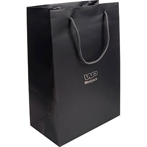Matt Paper Carrier Bag with Rope Handle, Large Matt Laminated Dark Grey Paper with Braided Handle 250 x 180 x 100 150 gsm