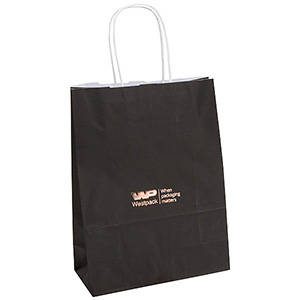 Kraft Paper Carrier Bag with Twisted Handle, Small Solid Black Matt Paper / Twisted Paper Handles 240 x 180 x 80