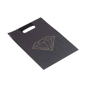Små plastposer med diamant, 500 stk. Mat sort plast med guld diamant 250 x 350 50 my