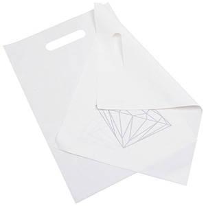 Sacs plastique impression d'un diamant, petits Blanc mat avec motif diamant argent (500 pcs) 250 x 350 50 my