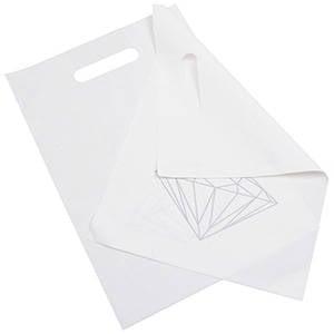 Små plastposer med diamant, 500 stk. Mat hvid plast med sølv diamant 250 x 350 50 my