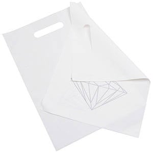 500 Plastic Carrier Bags Small Matt White with Silver Diamond 250 x 350 50 my