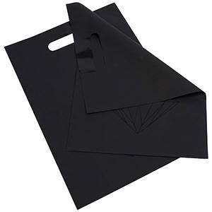 Små plastposer med diamant, 500 stk. Mat sort plast med sort diamant 250 x 350 50 my