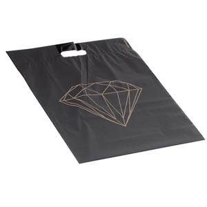 250 Plastic Carrier Bags Large Matt Black with Gold Diamond 390 x 450 50 my