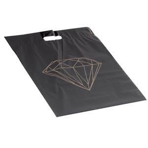 Sacs plastique impression d'un diamant, grands Noir mat avec motif diamant doré (250 pcs) 390 x 450 50 my