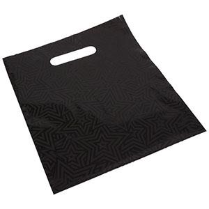 Sacs plastique impression d'étoiles, petits Plastique Noir / Étoiles Noirs 250 x 280