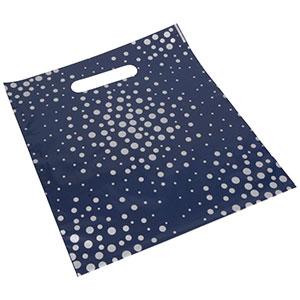 Sacs plastique impression des pois, petits Plastique Bleu Foncé / Pois en argent 250 x 280