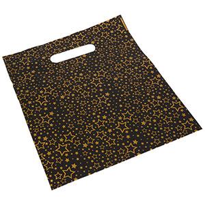 Sacs plastique impression d'étoiles, petits Plastique Noir / Étoiles d'or 250 x 280