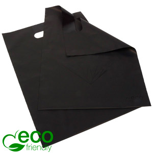 Small ECO Plastic Carrier Bags with Diamond, 500x Matt Black Recycled Plastic with Black Diamond 250 x 350 50 my