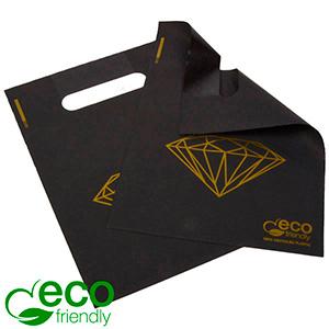 Mini ECO plastic draagtas met diamant, 500 st. Mat zwart gerecycled plastic met gouden diamant 180 x 250 50 my