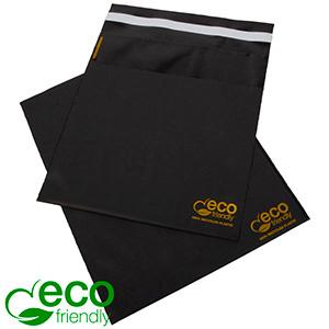 ECO plastic verzendzakje, 250 st.  Mat zwart gerecycled plastic met gouden bedrukking 200 x 200 60 My