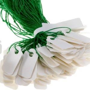 Fadenetiketten aus Pappe, klein, 1000 Stück Weiß m. grüner Schnur 15 x 8