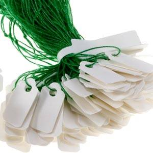 Cardboard string tags, small White with green string 15 x 8