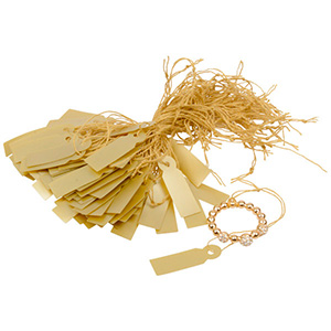 Fadenetiketten groß (Kunststoff), 1000 Stück Gold 29 x 9