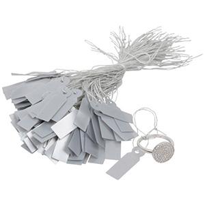 Kunststof prijskaartjes met koordje, groot Zilver 29 x 9