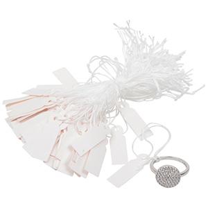 Kunststof prijskaartjes met koordje, groot Wit 29 x 9