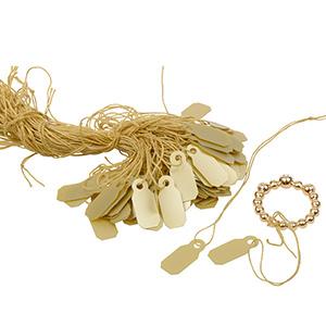 Fadenetiketten klein (Kunststoff), 1000 Stück Gold 19 x 8