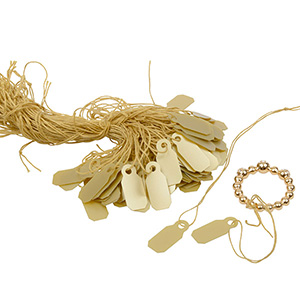 1000 Price Tags with String, Small Gold 19 x 8