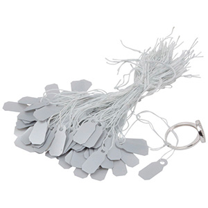 Fadenetiketten klein (Kunststoff), 1000 Stück Silber 19 x 8