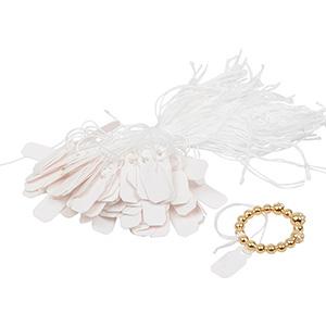 Fadenetiketten klein (Kunststoff), 1000 Stück Weiß 19 x 8