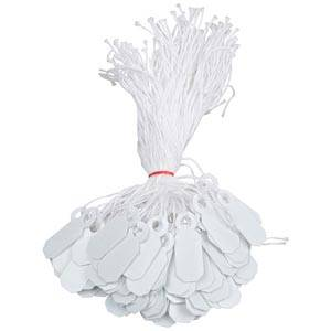 1000 Price Tags with String, Small White, Plastic 19 x 7