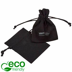ECO Cotton Jewellery Pouch, Mini Black organic cotton with satin drawstring 70 x 90