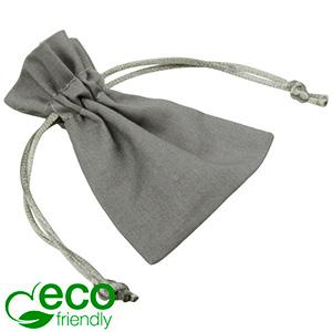 ECO Cotton Jewellery Pouch, Mini Grey organic cotton with satin drawstring 70 x 90