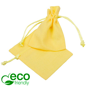 ECO Smykkepose i bomuld, mini Pastelgult økologisk bomuld med satinsnor 70 x 90