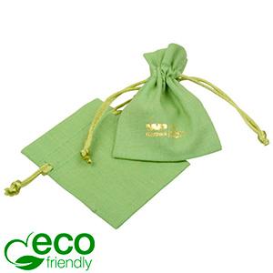 ECO Cotton Jewellery Pouch, Mini Pistachio green organic cotton w. satin drawstring 70 x 90