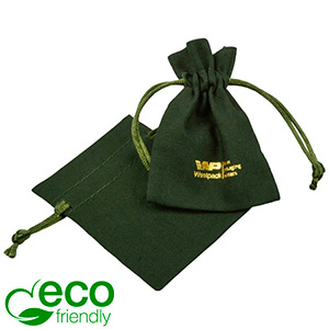 ECO Cotton Jewellery Pouch, Mini Dark green organic cotton with satin drawstring 70 x 90